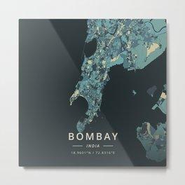 Bombay, India - Cream Blue Metal Print