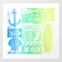 Surf Vibes - Rainbow beach and nautical linoprint with anchor and lighthouse Art Print