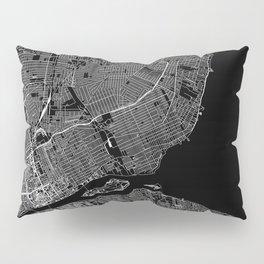 Detroit Black Map Pillow Sham