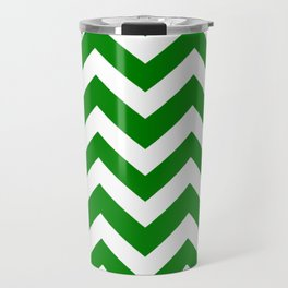 Green (HTML/CSS color) - green color - Zigzag Chevron Pattern Travel Mug