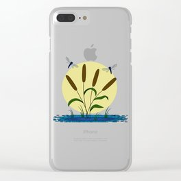 Cattails and Dragonflies Clear iPhone Case