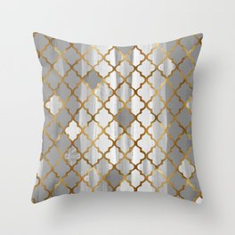 Moroccan Tile Pattern In Grey And Gold Throw Pillow