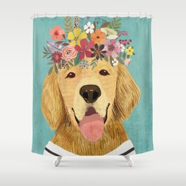 Golden Retriever Dog with Floral Crown Art Print – Funny Decoration Gift – Cute Room Decor – Poster Shower Curtain