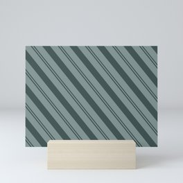 Night Watch PPG1145-7 Thick and Thin Angled Stripes on Scarborough Green PPG1145-5 Mini Art Print