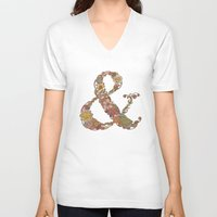 ampersand V-neck T-shirts featuring Ampersand by Valentina Harper