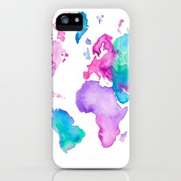 Modern world map globe bright watercolor paint iPhone Case