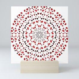 pink red black heart mandala Mini Art Print