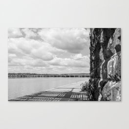 Under the Walnut Street Bridge: A View of Harvey Taylor and a Big Sky Canvas Print