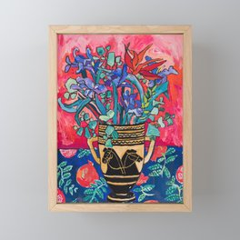 Persephone Painting - Bouquet of Iris and Strelitzia Flowers in Greek Horse Vase Against Coral Pink Framed Mini Art Print