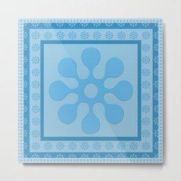 Blue Flower Block Metal Print