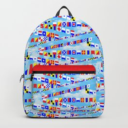 Maritime Signal Flags Pattern with Sailor Sayings Backpack