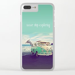 NEVER STOP EXPLORING THE BEACH Clear iPhone Case