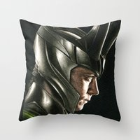 loki Throw Pillows featuring Loki by Hilary Rodzik