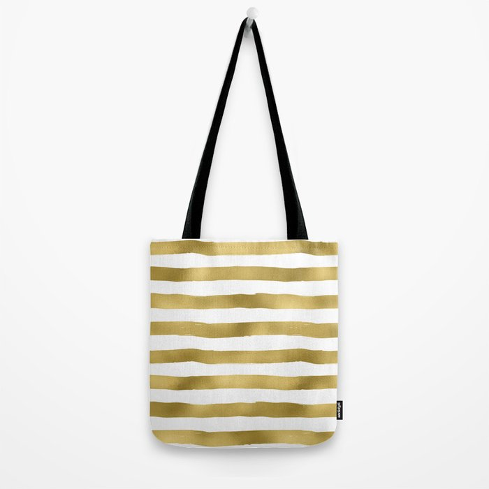 Simply luxury Gold stripes on clear white - horizontal pattern Tote Bag