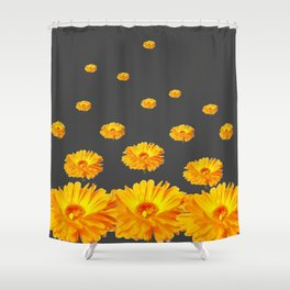 FLOATING YELLOW FLOWERS CHARCOAL GREY Shower Curtain
