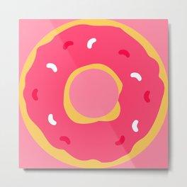 Cute Food Art Simple Pink Donut Metal Print