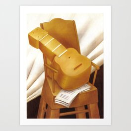 Fernando Botero - Guitar and a chair Art Print