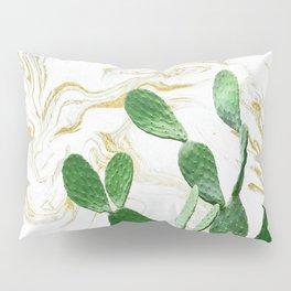 Cactus Opuntia - gold marble Pillow Sham