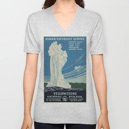 Vintage poster - Yellowstone Unisex V-Neck
