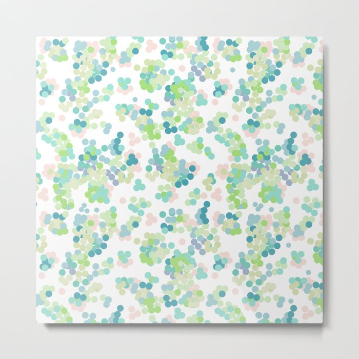 Blue green polka dots on a white background . Metal Print