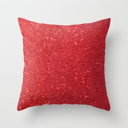 Soft Red Sparkly Valentine Sweetheart Glitter Throw Pillow