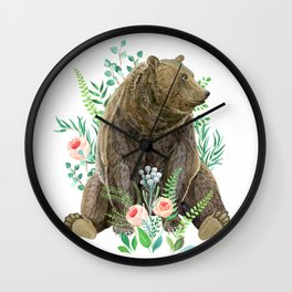 bear sitting in the forest Wall Clock