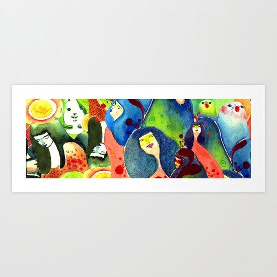 Moss and birds Art Print
