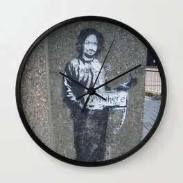 Banksy Hitchhiker to Anywhere (Charles Manson) Wall Clock