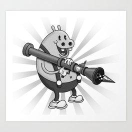 Retro Cartoon Hippo Art Print