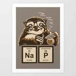 Chemistry sloth discovered nap Art Print