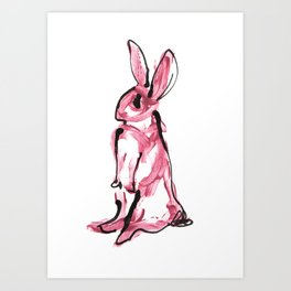 Pink Bunny Rabbit Acrylic Paint and Black Ink Wall Art. Art Print