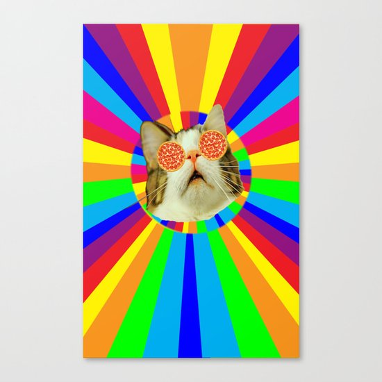 pizza loving cat Canvas Print