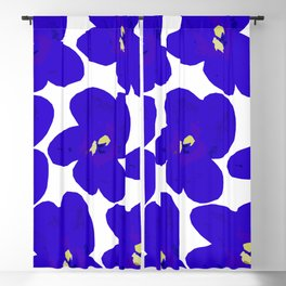 Blue Retro Flowers #decor #society6 #buyart Blackout Curtain