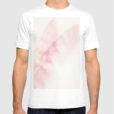 Pink feathers on a soft pastel background - beautiful and dreamy Mens Fitted Tee White MEDIUM