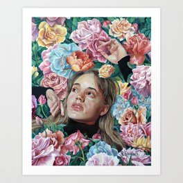 Florimania, portrait of young girl woman in flowers, colorful rainbow, bright, romantic Art Print
