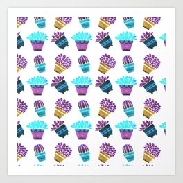 Hand painted teal purple watercolor summer cactus floral Art Print