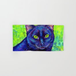 Black Cat with Chartreuse Eyes Hand & Bath Towel