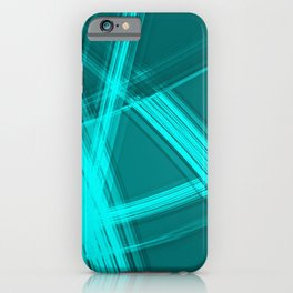 Mirrored edges with indigo diagonal lines of intersecting glowing bright energy waves. iPhone Case