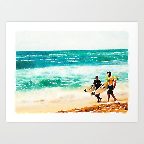 Catching Waves in Hawaii Art Print