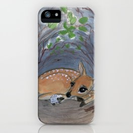 """Lost in the Woods"" A Deer and Hedgehog Portrait iPhone Case"