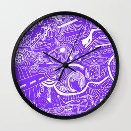 Ultra Violet Doodle Wall Clock