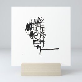A vectorised and reworked Basquiat notebook sketch Mini Art Print