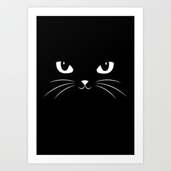 Cute Black Cat Art Print