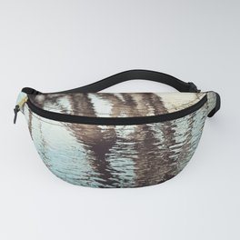 Blue Brown Abstract Water Reflections Photography, Water Ripples Tree Lake Reflection Photo Fanny Pack