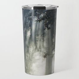 Smoke and Sun Filtered Through a Fir Tree Travel Mug