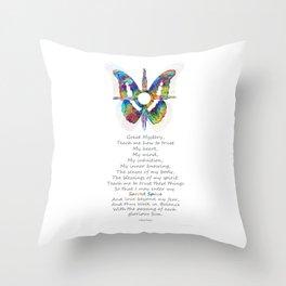 Native American Art - Sun Symbol Butterfly Healing Prayer - Sharon Cummings Throw Pillow
