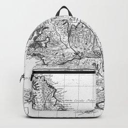 Vintage Map of Iceland (1761) BW Backpack