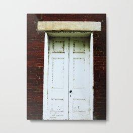 White Rustic Door Metal Print