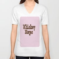 whiskey V-neck T-shirts featuring Whiskey Naps by Mike Semler