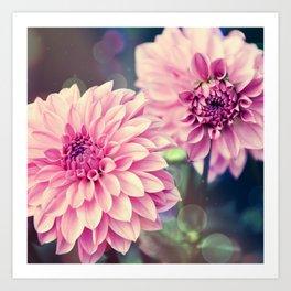 Pink Dahlia bokeh effect Art Print